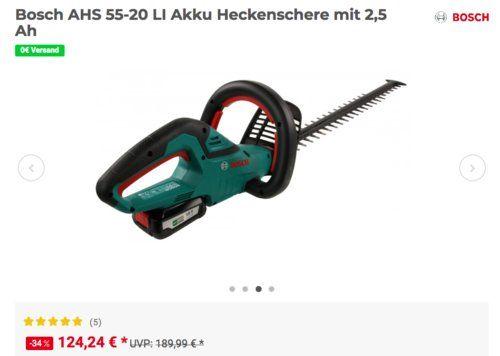 Bosch Ahs 55 20 Li Akku Heckenschere Inkl 2 5 Ah Und Schnelllader Akku Heckenschere Bosch Schere