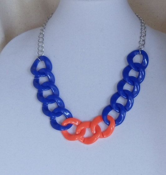 """Check out Team Colors Statement Necklace,Chunky Royal  Blue and Orange,Light Weight Acrylic,30x32mm Link,Adjustable 22"""" Long,matching Earrings,#1003SN on ckdesignsforyou"""