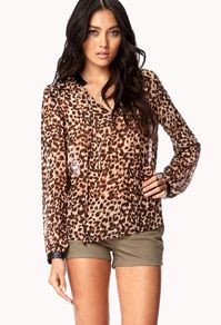 LOVE 21 WILD FAUX LEATHER TRIMMED BLOUSE