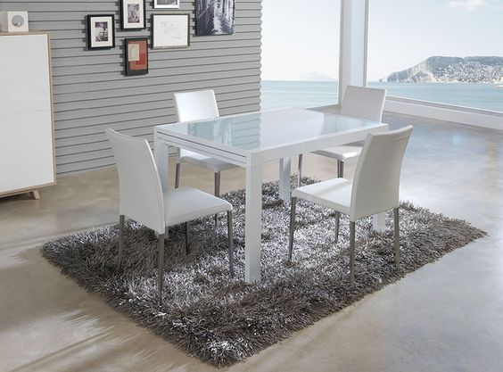 table de salle manger rectangulaire avec rallonge lisbonne laqu e blanche avec plateau en. Black Bedroom Furniture Sets. Home Design Ideas