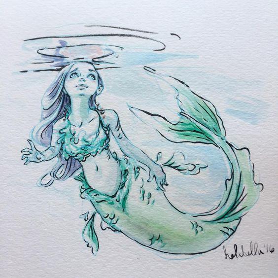Blue mermaid #mermaids! #MondayMerms #watercolor