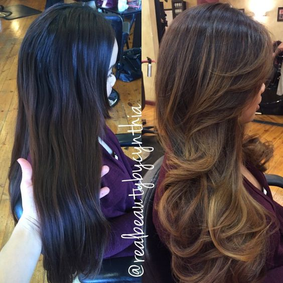 Before and after a sombre balayage highlights transitions to a subtle ombré  with full layered cut