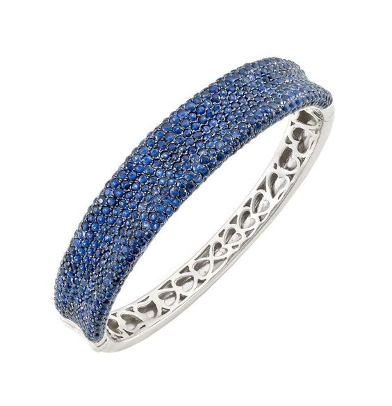 Sterling Silver Blue Sapphire Bangle. Blue Sapphire-14.50 carats.