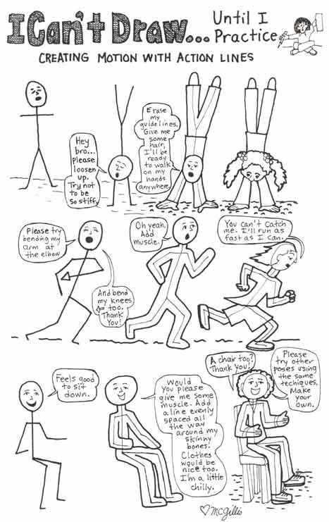 Learn to draw people in motion using action lines.  This is a good lesson for beginners learning how to draw.