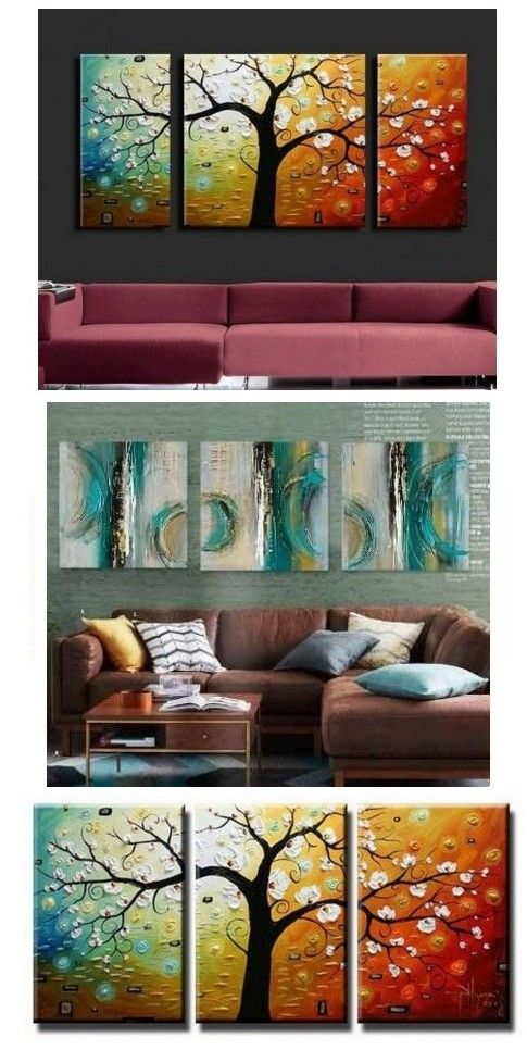 3 Piece Abstract Artwork Tree Of Life Painting Living Room