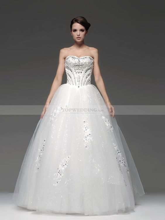 Strapless Tulle Ball Gown with Rhinestone Applique