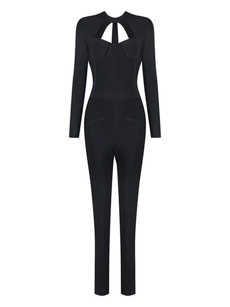 Black Solid Cutout Sexy Jumpsuit: