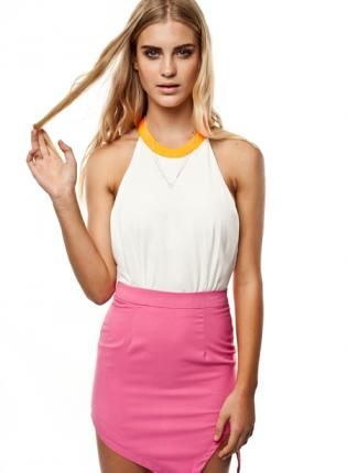 White Halter Backless Dress #pink #partydress