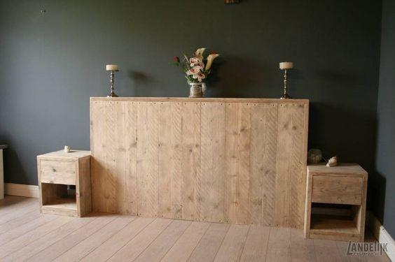 Steigerhouten bed hoofdeinde met lade kastjes mooi en stoer hoofdbord van gebruikt steigerhout - Nachtkastje voor loftbed ...