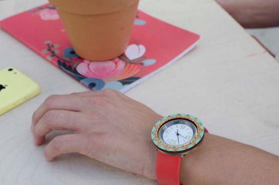 Handpainted Watches Round Teal & Red by JillMakes on Etsy