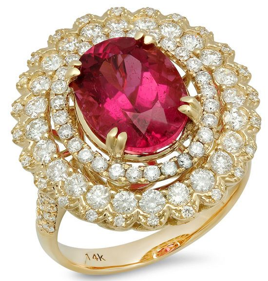 1.30ct ROUND DIAMOND YELLOW GOLD RUBY RING  #Sk_Jewels #Cocktail