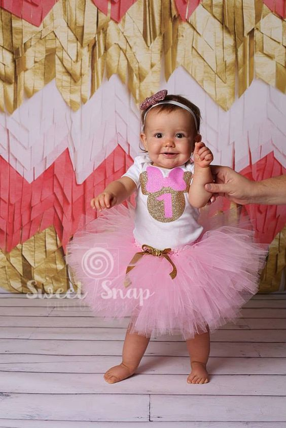 Party, minnie mouse outfit, Pink gold party, First Birthday baby girl ...