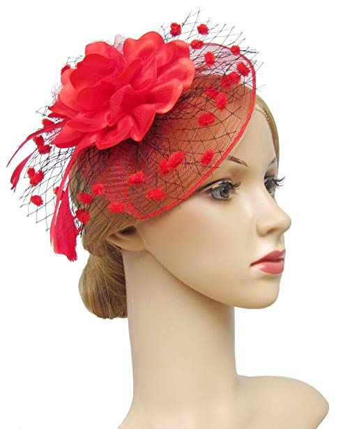 Large Black Red Rose Poppy Flower Feather Fascinator Hat Headband Hair Big 9085