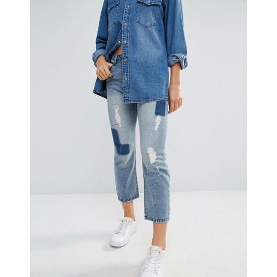 Only - Boyfriend-Jeans in kurzem Schnitt, mit Aufnähern - Blau
