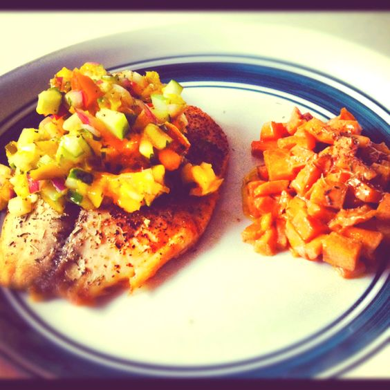 Made this tonight for dinner. Baked Talapia w/cucumber mango salsa ...