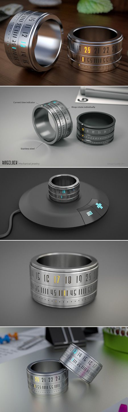 Its called the Ring Clock, and is meant to be a time telling device worn on one of your fingers. It allegedly uses ultra-thin mono-color LEDs and a 6mAh, ultrathin rechargeable lithium polymer battery to display the time at the twist of its body. The battery, though small, would be enough to give the ring one week of autonomy. More at http://atechpoint.com/ #tech #atechpoint