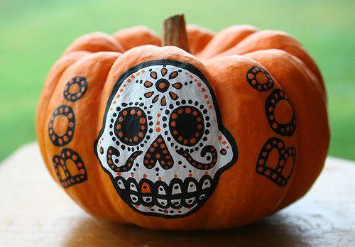 Calavera painted pumpkin for Halloween. | Dia de los ...