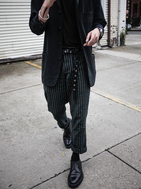 Shopping list for this look... Issey Miyake men's blazer Rick unstable tee Ma+ studded belt / .925 bangle Ann Demeulemeester pinstripe pants Raf Simons combat sole derbies C. Diem ring