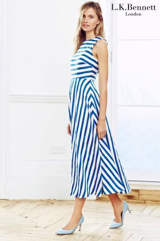 Blue LK Bennett Stripe Mix Midi Length Dress