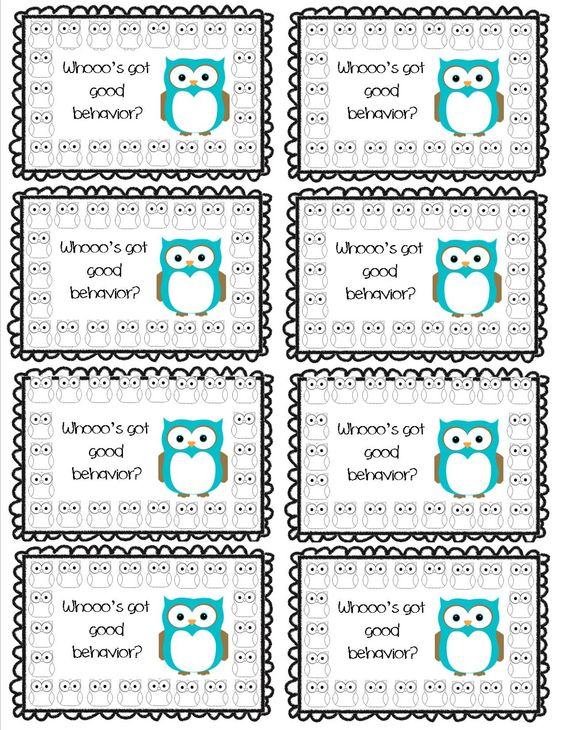 Whooo's got good behavior? Punch Card- Part of a Set of 8!