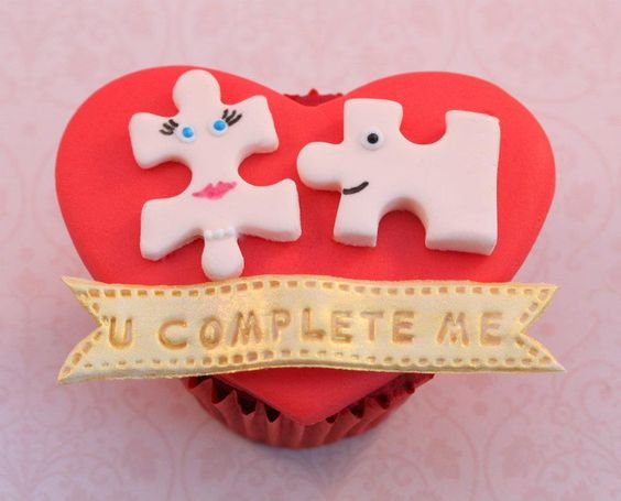 You Complete Me Jerry Maguire Puzzle Valentine Cupcake