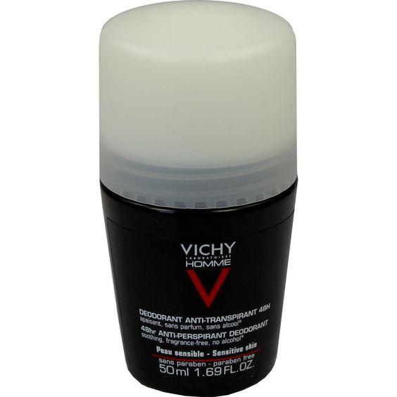VICHY HOMME Deo Roll-on für sensible Haut:   Packungsinhalt: 50 ml Stifte PZN: 06712753 Hersteller: L Oreal Deutschland GmbH Preis: 6,62…