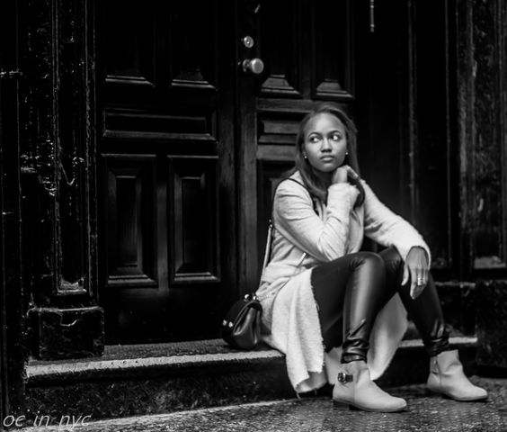 Friend and fellow photographer Yeny hanging out on Spring Street in Manhattan, NYC