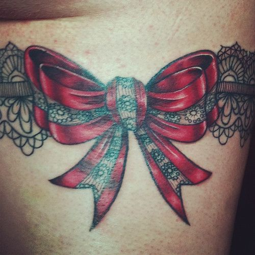 Satin and lace bow, detail shot (half healed half fresh) #tattoo #tattoos