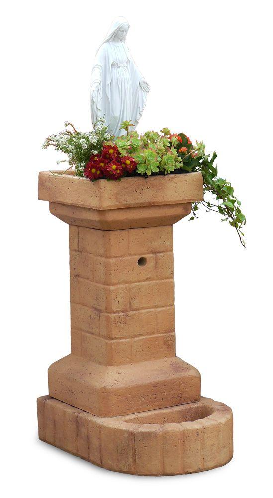 Fontana in pietra ricostruita mod. fiorita con madonna in ...