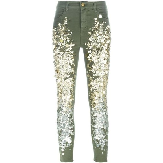 Amen Sequin Embellished Jeans ($377) ❤ liked on Polyvore featuring jeans, green, white jeans, sequin jeans and green jeans