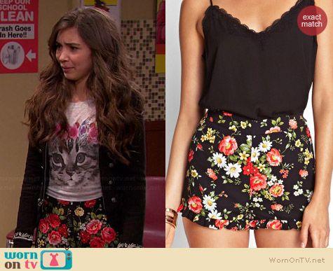 Riley's floral shorts on Girl Meets World. Outfit Details: http://wornontv.net/36814/ #GirlMeetsWorld