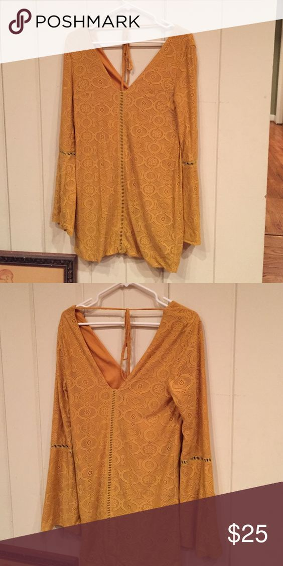 Missguided Sixties Style Mustard Yellow dress Missguided dress - size small, ties in the back. Very pretty with retro styled sleeves. Missguided Dresses Mini