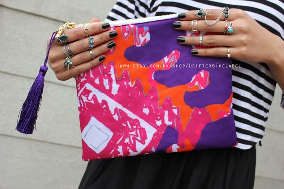 digital printed clutch, clutch bag, bohemian clutch bag, ethnic clutch bag, tribal clutch bag
