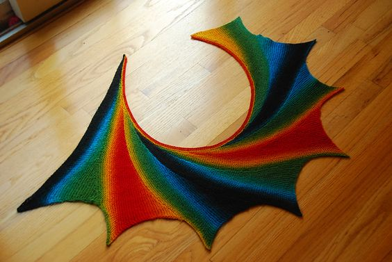 AstridSN's Rainbow wingspan    Another striking combination of colour (zauberball again) and blocking.