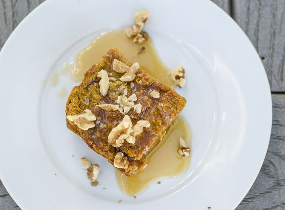 Pumpkin Bread Pudding with Maple Bourbon Butter