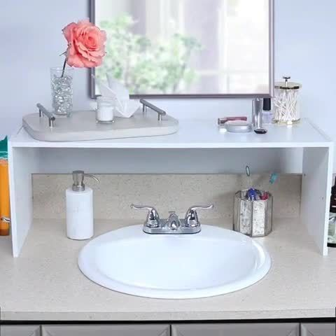 Nifty On Instagram Double Your Bathroom Counter Space In A Snap Bathroom Counter Organization Bathroom Counters Bathroom Decor