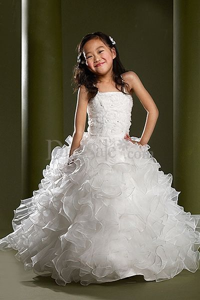 xBlooming Out Spaghetti Organza Flower Girl Dress