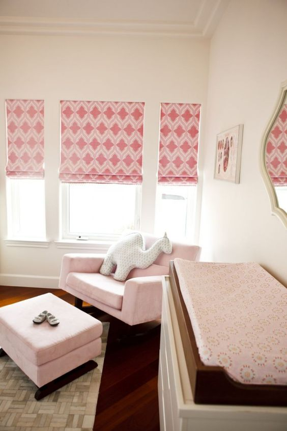 Beautiful pink custom roman shades in this baby girl nursery! #nursery