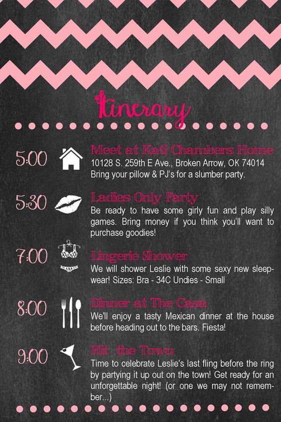 Custom Bachelorette Party Itinerary Chevron & by TownleyDesigns, $20.00