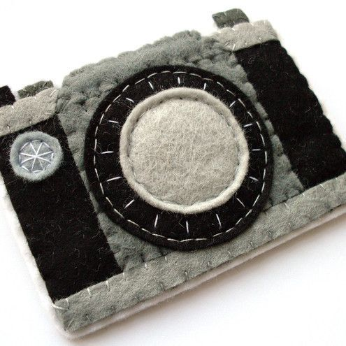 Camera, felt brooch. This would also be cute as an iPad or computer case.