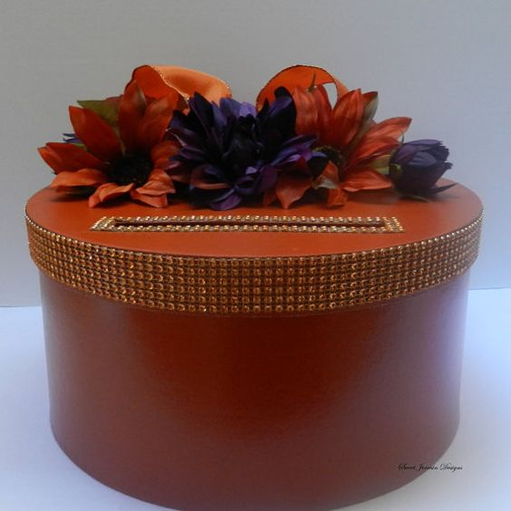 Fall Wedding Card Box Orange Purple – Fall Wedding Card Boxes