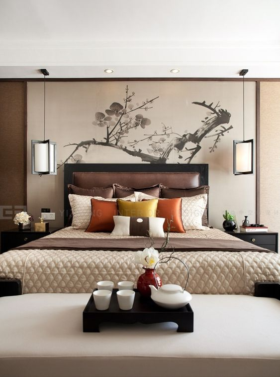 Bedrooms asian inspired bedroom and warm bedroom on pinterest for Bedroom inspiration oriental