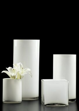 """White Glass Cube and Cylinder Vases 5"""" d x 6"""" h cylinder   $108 for 18 / $9 apiece 6"""" sq x 6"""" h cube   $168 for 12"""