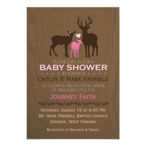 """Mom, Dad and Baby Girl Deer Pink Baby Shower Invite 3.5"""" X 5"""" Invitation Card"""