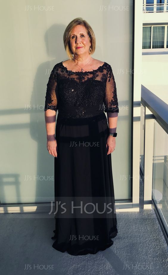 A-Line/Princess Scoop Neck Floor-Length Chiffon Evening Dress With Sequins (017167702) - Evening Dresses - JJ's House