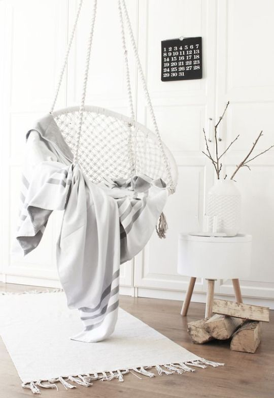 Trendy hanging chair in the living room
