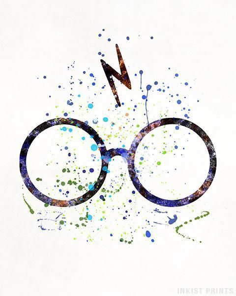 Harry Potter Shilouette Poster Glasses And Scare Nursery Artwork Child/'s Bedroom