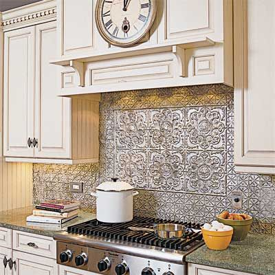 For a distinctive and practical backsplash, consider tin ceiling panels, available in a wide variety of sizes, sizes and finishes.   Photo: Nathan Kirkman   thisoldhouse.com