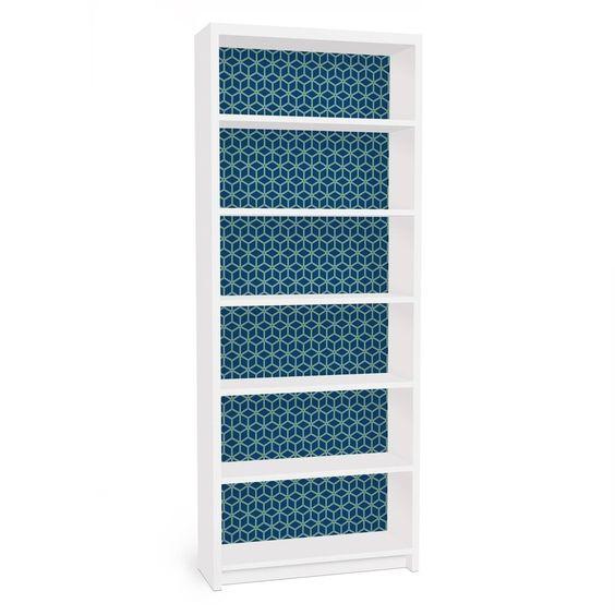Möbelfolie für IKEA Billy Regal - Klebefolie Würfelmuster blau in Möbel &…