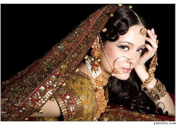 Pakistani Bride, Jewelry includes maang tika, nath, haath phool...